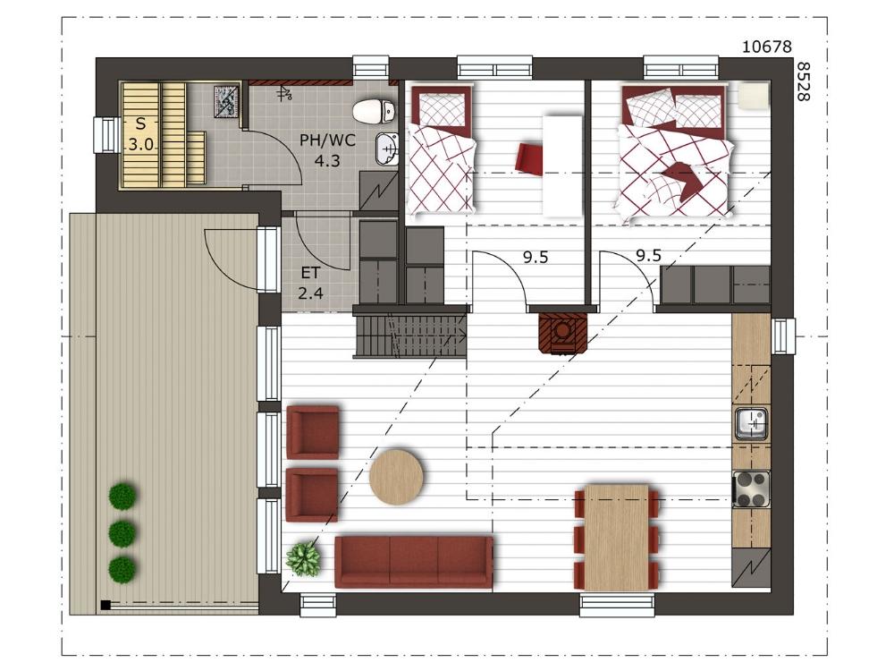 План финского дома «SF-003» 10,6x8,5